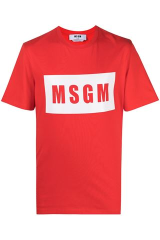 RED MAN T-SHIRT WITH MSGM PRINT