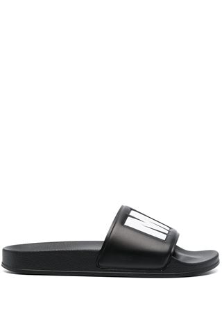 SLIPPERS IN BLACK LEATHER MSGM MAN