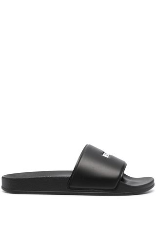 BLACK SLIPPERS FOR MAN WITH MSGM LOGO