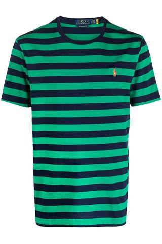 BLUE AND GREEN HORIZONTAL STRIPES T-SHIRT